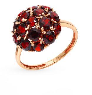 Золотое кольцо с гранатом К-7001_07*: красное и розовое золото 585 пробы, гранат — купить в Екатеринбурге, фото, артикул 163391 — интернет-магазин SUNLIGHT