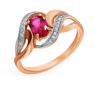 Золотое кольцо с рубинами и бриллиантами SUNLIGHT: красное и розовое золото 585 пробы, рубин, бриллиант — купить в интернет-магазине Санлайт, фото, артикул 99204