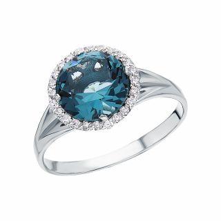 Серебряное кольцо с фианитами и ювелирными кристаллами ЮВИКОМ 01-469с: белое серебро 925 пробы, ювелирный кристалл, фианит — купить в интернет-магазине SUNLIGHT, фото, артикул 190709