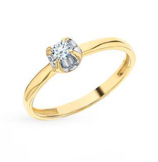 Золотое кольцо SUNLIGHT «Бриллианты Якутии»: жёлтое золото 585 пробы, бриллиант — купить в интернет-магазине SUNLIGHT, фото, артикул 57753