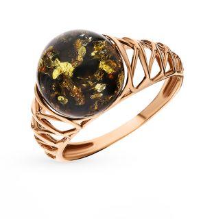 Серебряное кольцо с янтарем DARVIN 420392378oo: розовое серебро 925 пробы, янтарь — купить в интернет-магазине SUNLIGHT, фото, артикул 123714