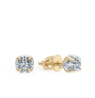 Золотые серьги SUNLIGHT «Бриллианты Якутии»: жёлтое золото 585 пробы, бриллиант — купить в интернет-магазине SUNLIGHT, фото, артикул 58181