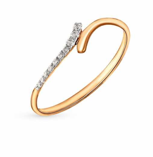 Кольцо, вставка  фианит  Розовое золото 585 пробы. −52% Калина Золотая 73f2eda6f62