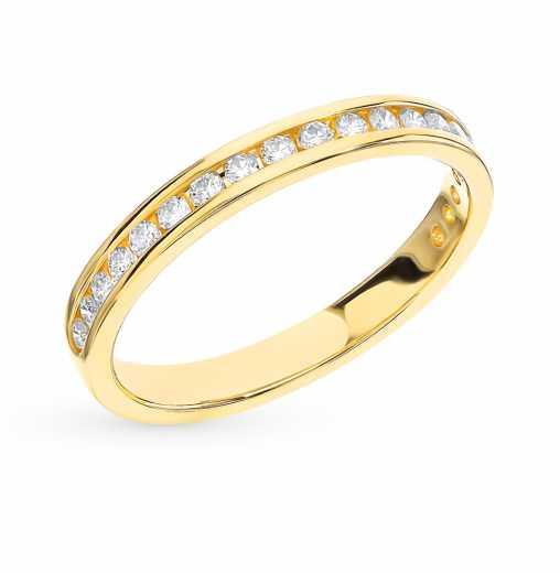Кольцо с 20 бриллиантами, 0.22 карат  Желтое золото 585 пробы. −70% SUNLIGHT 25afe251649