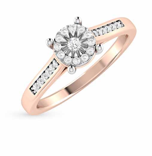 Кольцо с 1 бриллиантом, 0.04 карат, 24 бриллиантами, 0.16 карат  Розовое  золото 585 пробы. −52% SUNLIGHT 9b258153b71