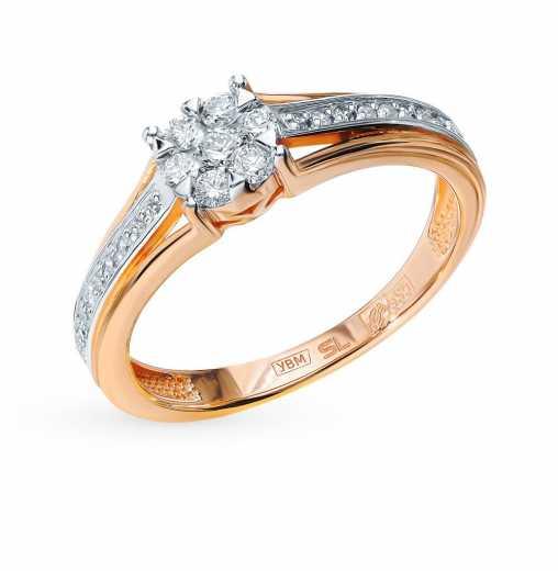4419241a709d Кольцо «Бриллианты Якутии» с 16 бриллиантами, 0.05 карат, 6 бриллиантами,  0.13 карат, 1 бриллиантом, 0.05 карат  Розовое золото 585 пробы ХИТ ООО