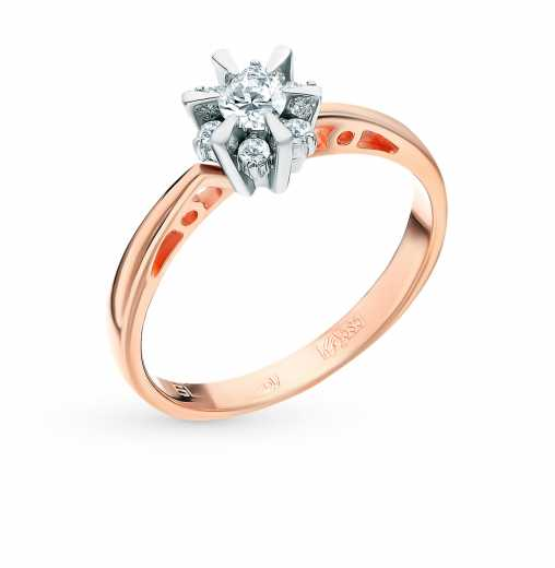 Кольцо «Бриллианты Якутии» с 7 бриллиантами, 0.25 карат  Розовое золото 585  пробы −52% SUNLIGHT cdd64be5a8e