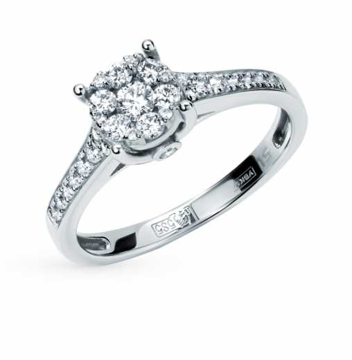 Кольцо «Бриллианты Якутии» с 31 бриллиантом, 0.31 карат  Белое золото 585  пробы −52% SUNLIGHT 8472d2e5f13