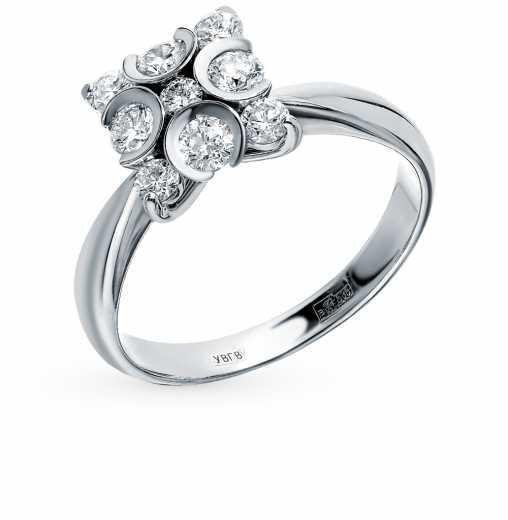 Кольцо «Бриллианты Якутии» с 1 бриллиантом, 0.04 карат, 4 бриллиантами,  0.24 карат, 4 бриллиантами, 0.33 карат  Белое золото 585 пробы −52% SUNLIGHT 3972a2ee5a6
