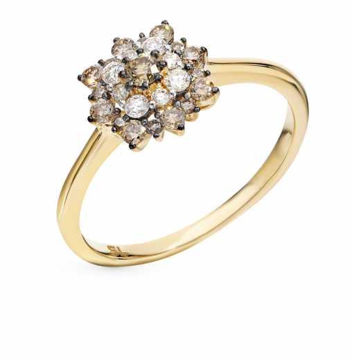Кольцо с 8 бриллиантами, 0.13 карат  17 бриллиантами коньячными, 0.33 карат   Желтое золото 585 пробы. −70% SUNLIGHT df84b7a5a95