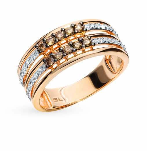 Кольцо с 32 бриллиантами, 0.18 карат  10 бриллиантами коричневыми обл.,  0.24 карат  Розовое золото 585 пробы. −52% SUNLIGHT 477bdc2606a