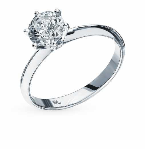 Кольцо «Бриллианты Якутии» с 1 бриллиантом, 0.73 карат  Белое золото 585  пробы −52% SUNLIGHT 35c6d5cce3d