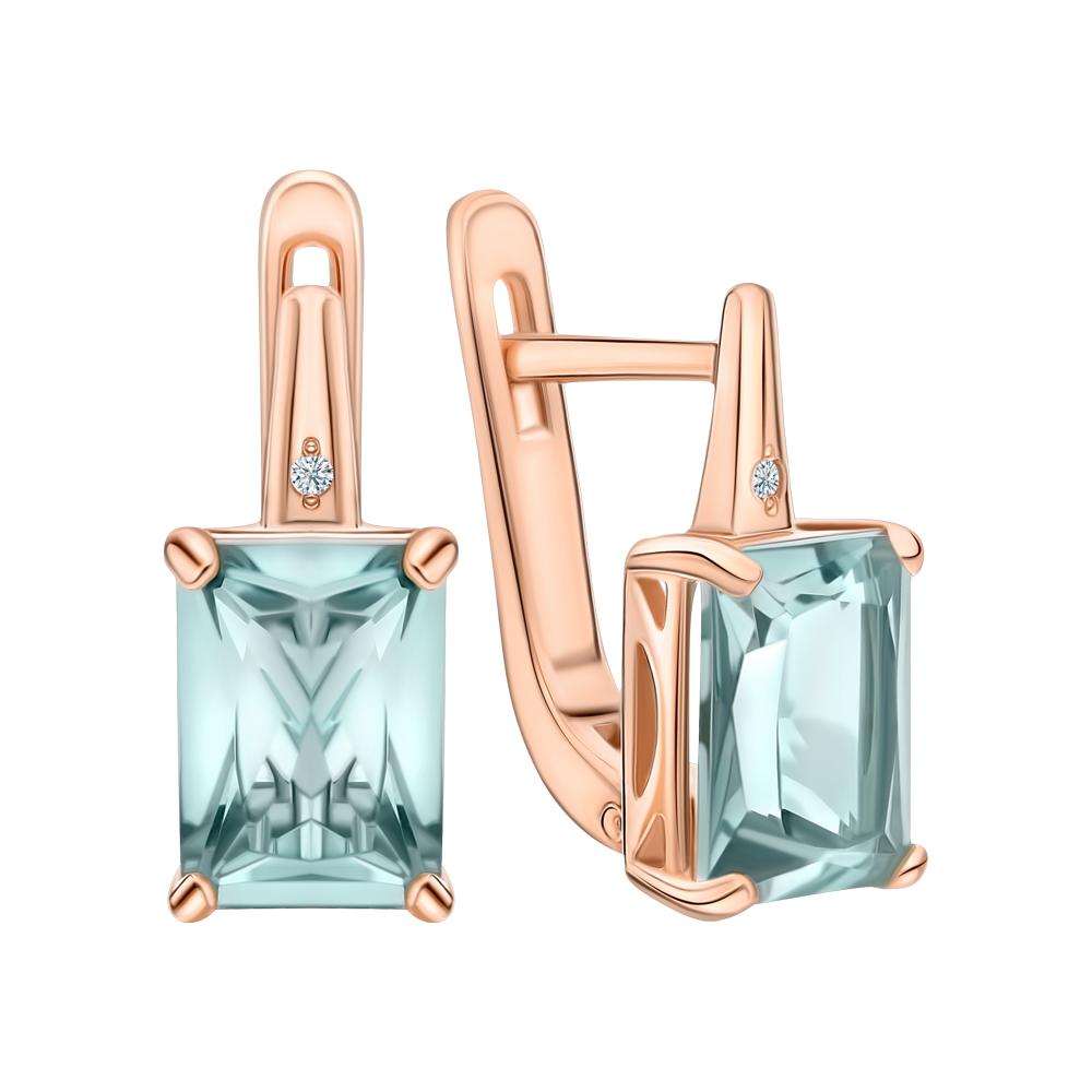 Фото «Золотые серьги с празиолит и бриллиантами»