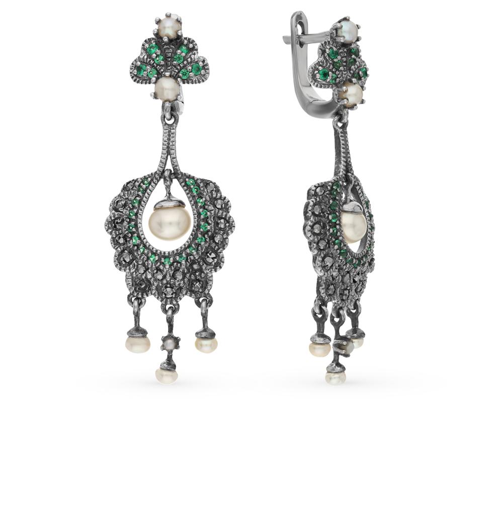 Фото «серебряные серьги с бериллом, марказитами и жемчугом»