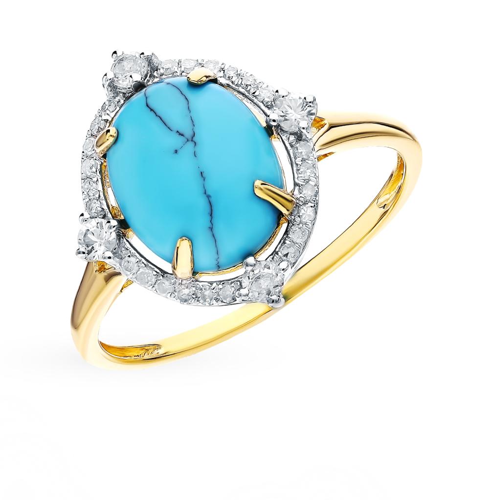 золотое кольцо с сапфирами, бирюзой и бриллиантами