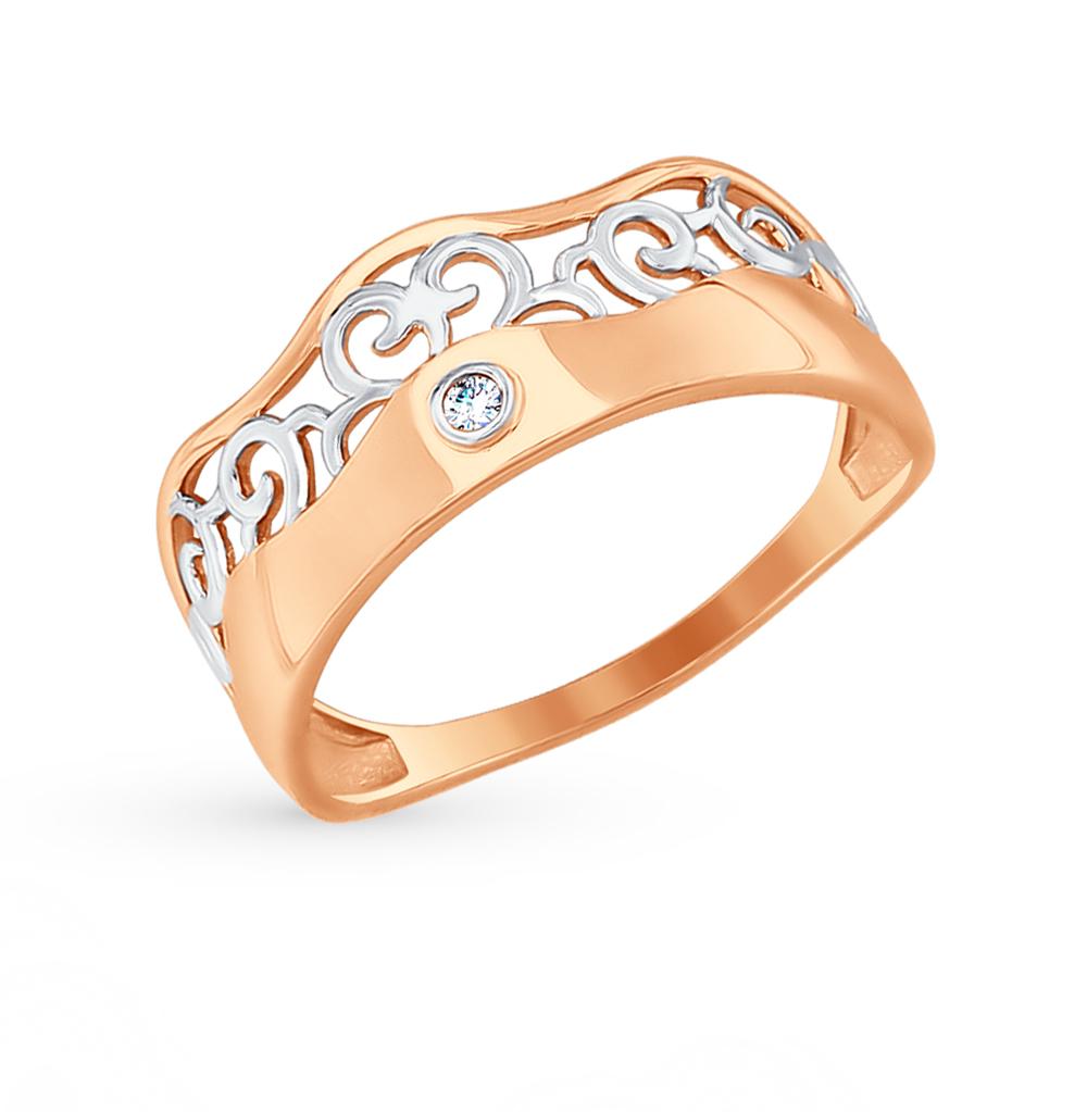 золотое кольцо с фианитами SOKOLOV 017546*