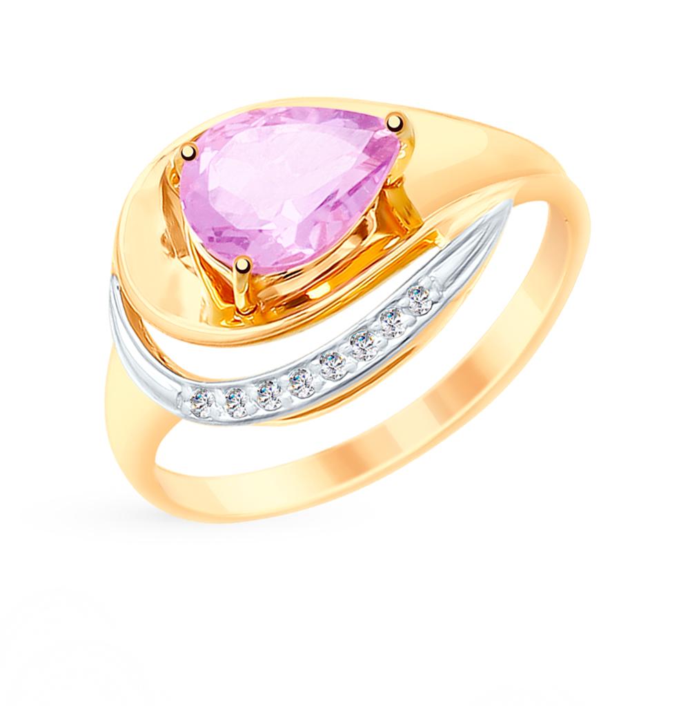 Фото «Золотое кольцо с аметистом и фианитами SOKOLOV 715241»