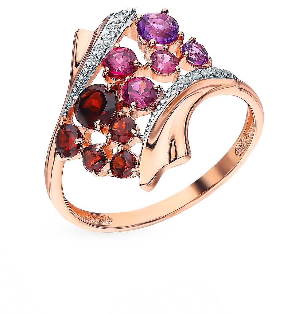 золотое кольцо с родолитами, аметистом, фианитами и гранатом