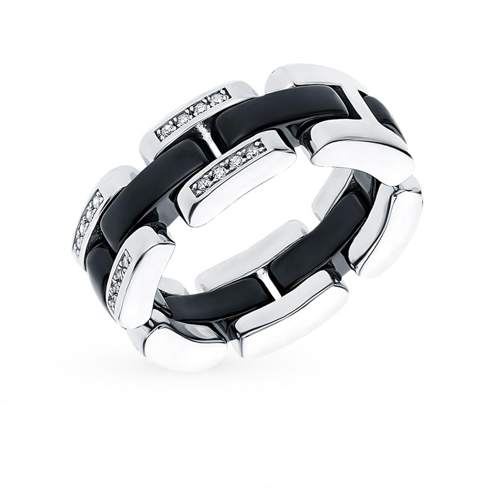 Фото «Серебряное кольцо с керамикой и фианитами»