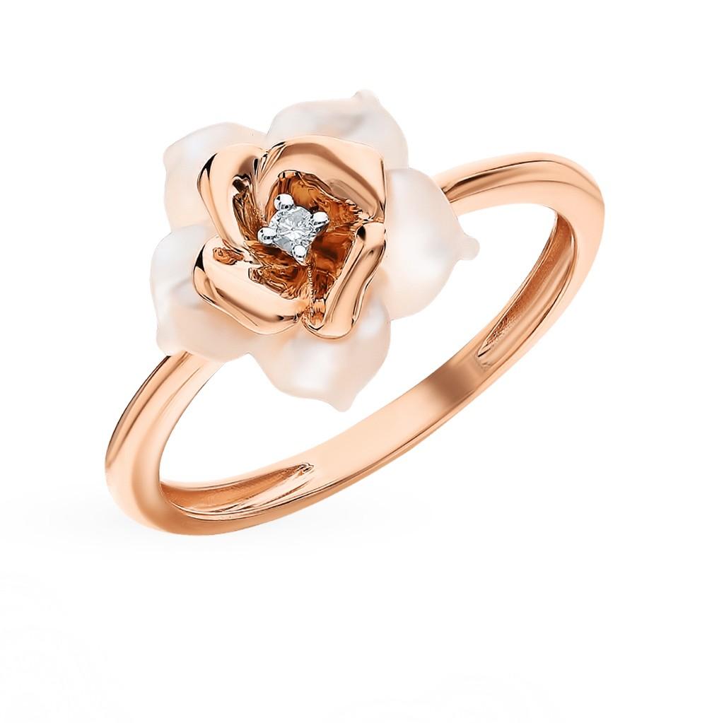Золотое кольцо с перламутром и бриллиантами в Екатеринбурге