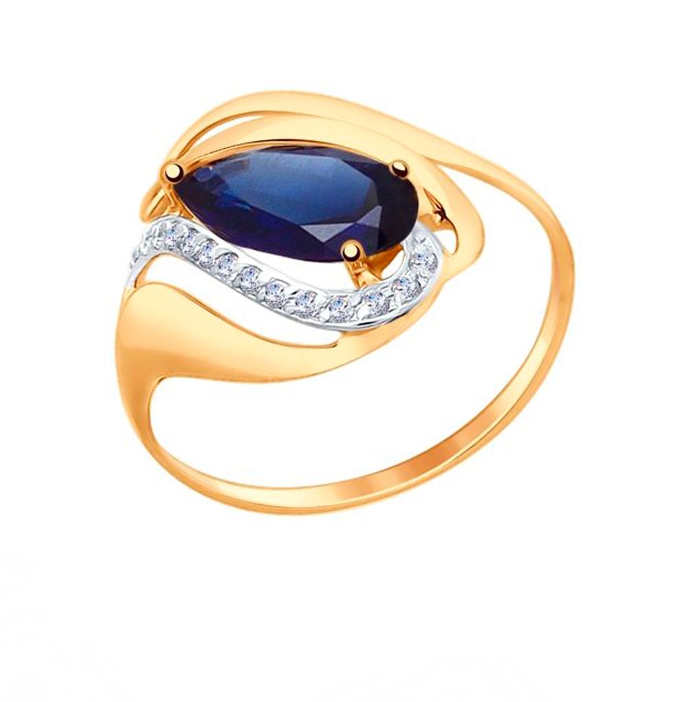 Фото «Золотое кольцо с корундом и фианитами SOKOLOV 714689*»