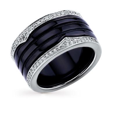 Фото «серебряное кольцо с фианитами и керамикой»