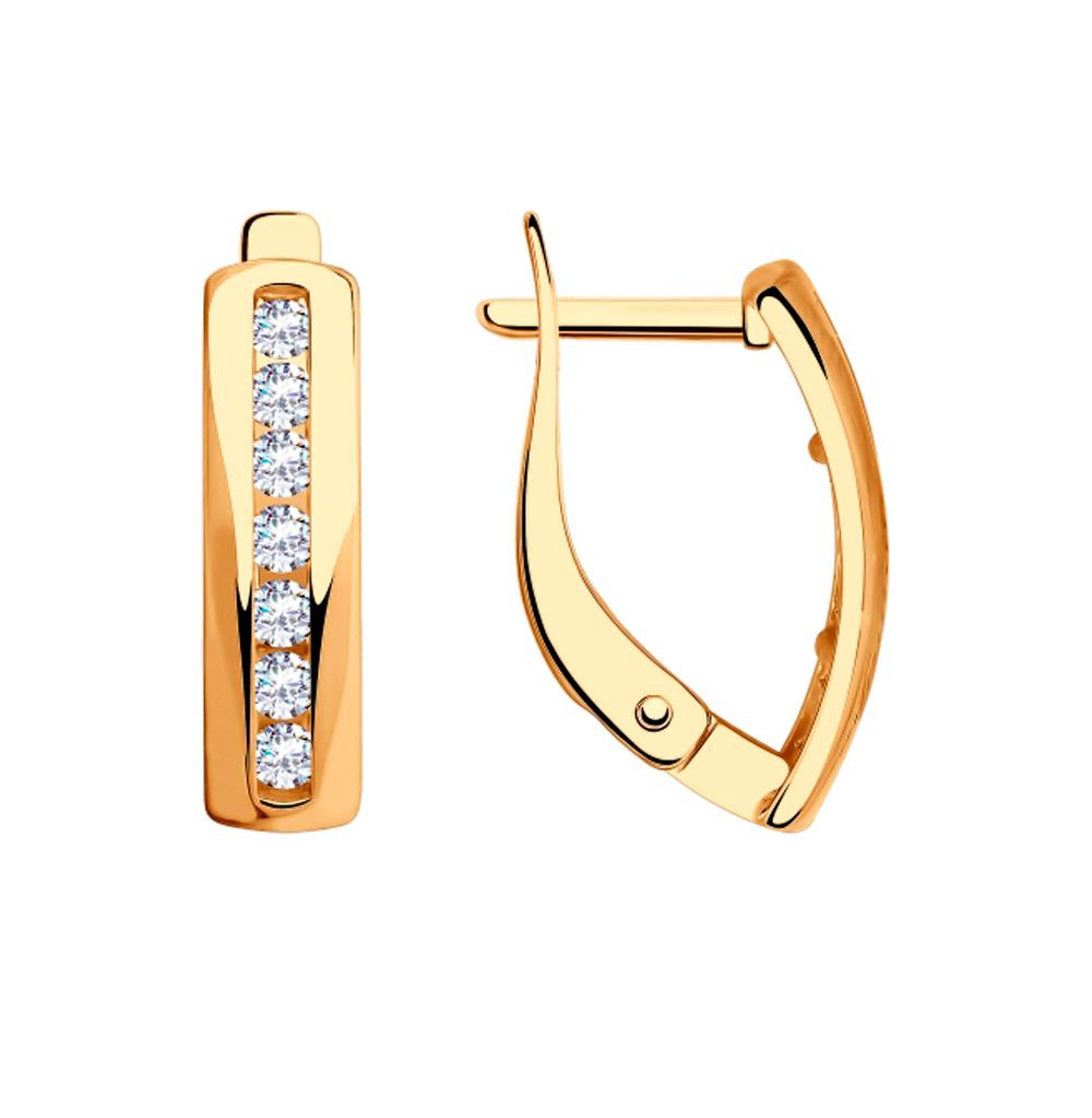 золотые серьги с фианитами SOKOLOV 028504