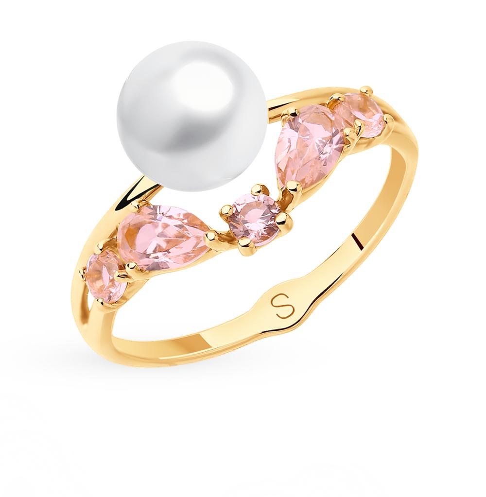 золотое кольцо с жемчугом и ситаллами SOKOLOV 791108*