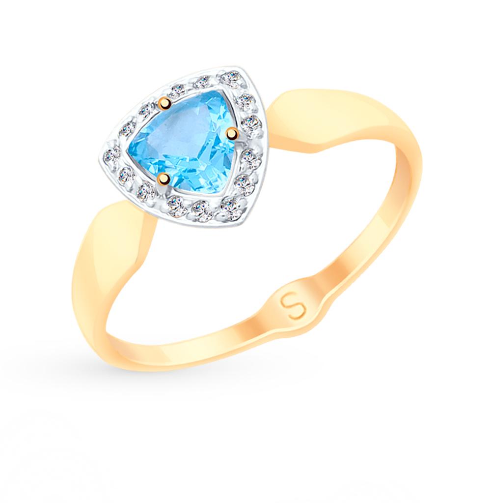 Фото «Золотое кольцо с топазами и фианитами SOKOLOV 715107*»