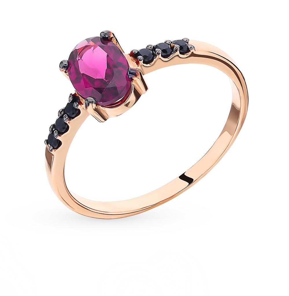 Золотое кольцо с родолитом и фианитами в Санкт-Петербурге