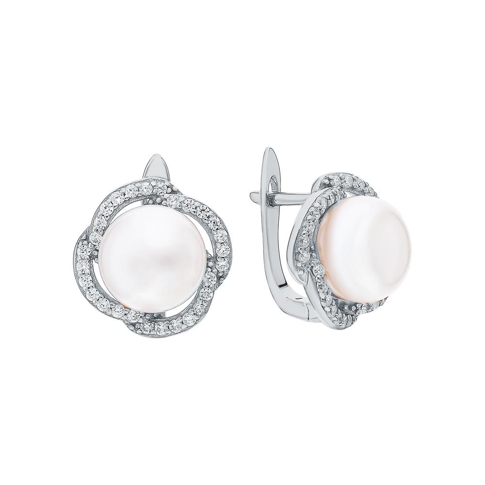 Фото «Серебряные серьги с жемчугом и кубическими циркониями»