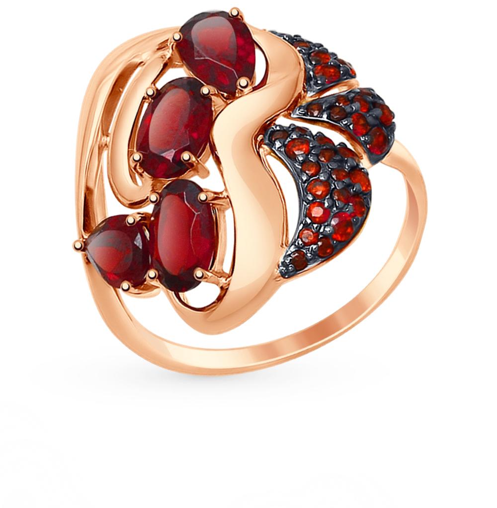 золотое кольцо с фианитами и гранатом SOKOLOV 714770*
