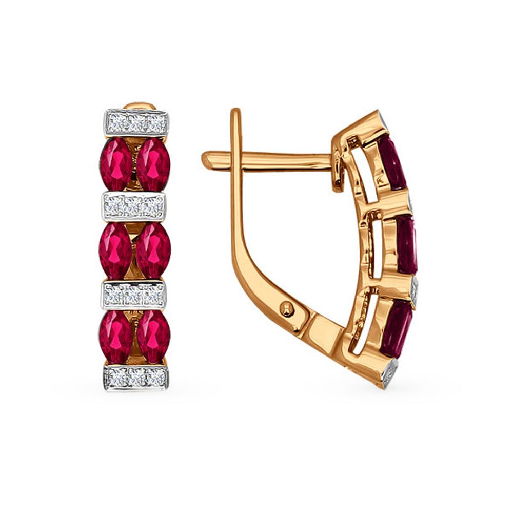 золотые серьги с рубинами и бриллиантами SOKOLOV 4020323