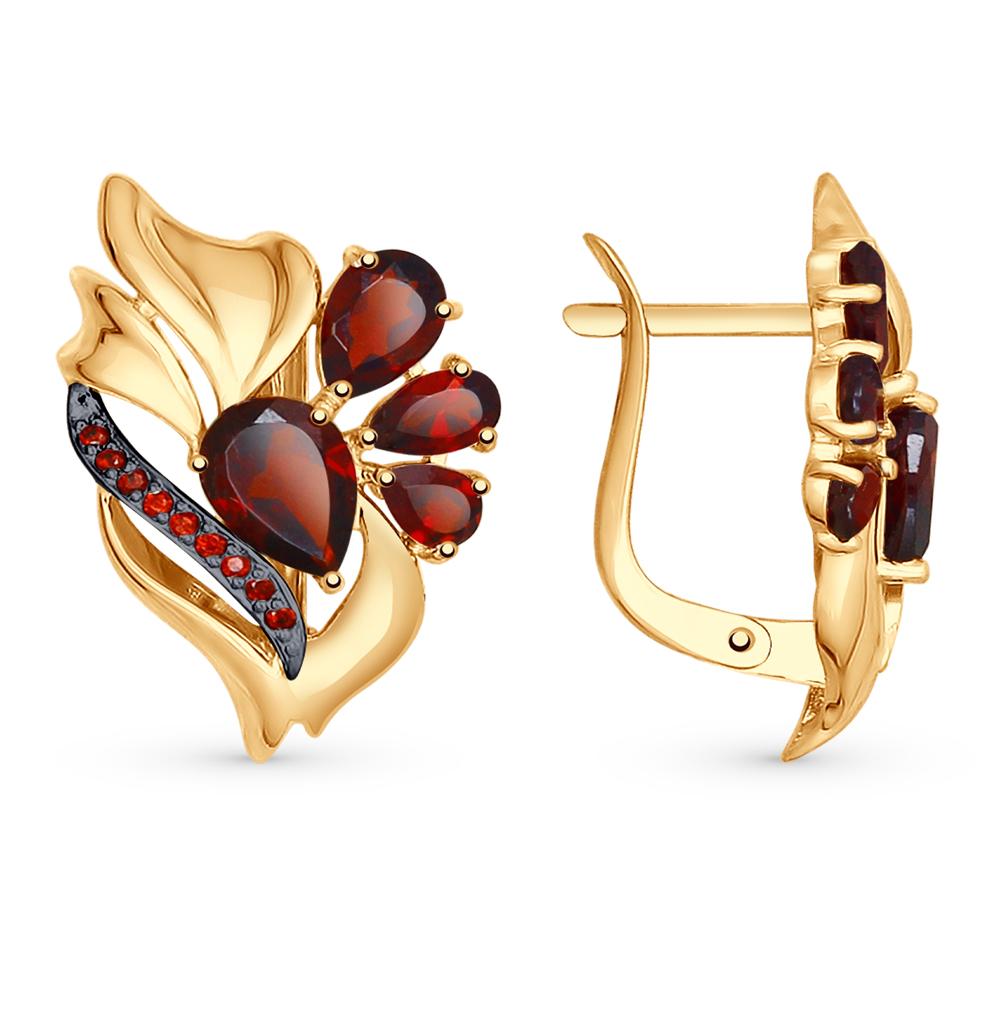 золотые серьги с фианитами и гранатом SOKOLOV 725050*
