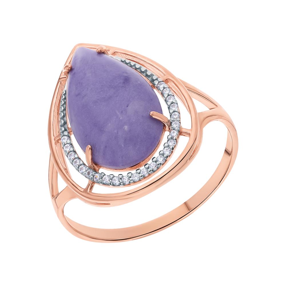 Фото «Серебряное кольцо с чароитами и кубическим цирконием»