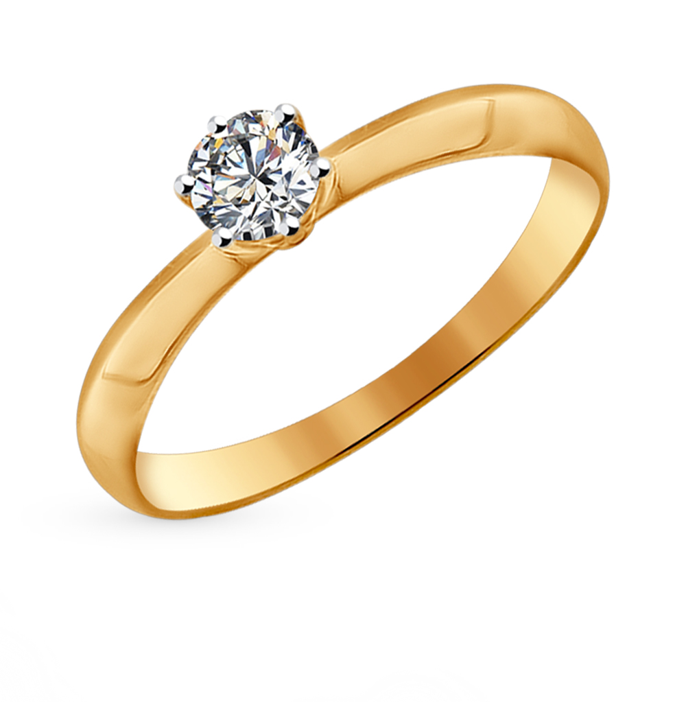 золотое кольцо с фианитами SOKOLOV 81010225*