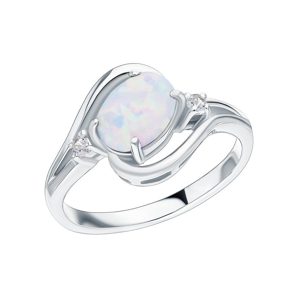 Серебряное кольцо с фианитами и опалами в Екатеринбурге