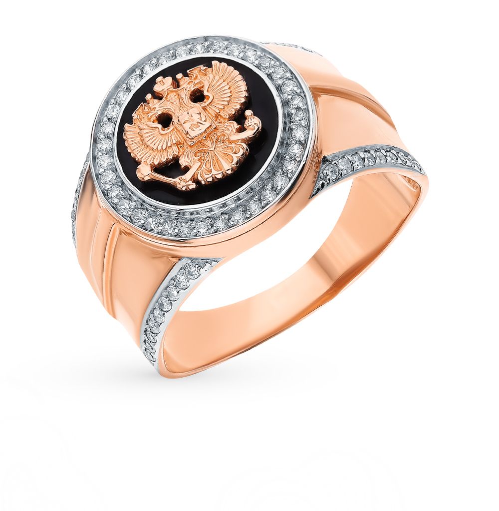 Золотое кольцо с фианитами и эмалью в Екатеринбурге