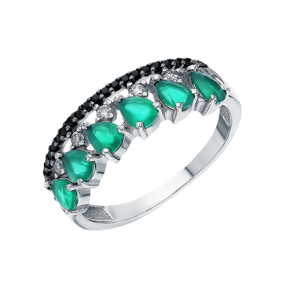 Фото «Серебряное кольцо с нанокристаллами, фианитами и агатом»