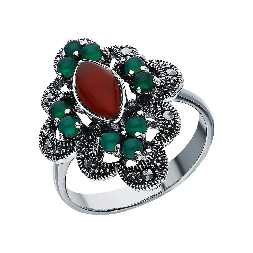 Фото «Серебряное кольцо с хризопразами, сердоликом и марказитами swarovski»