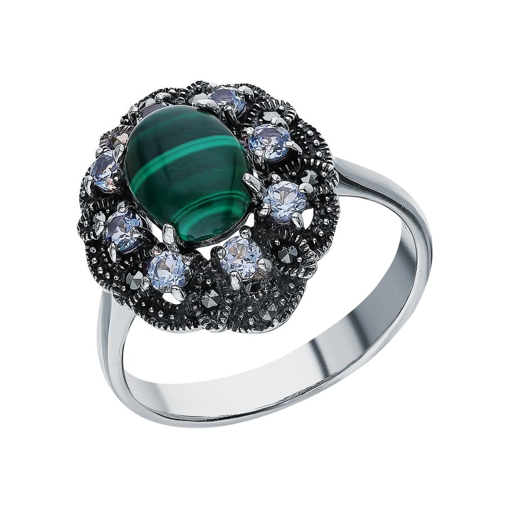 Фото «Серебряное кольцо с малахитом, топазами и марказитами swarovski»