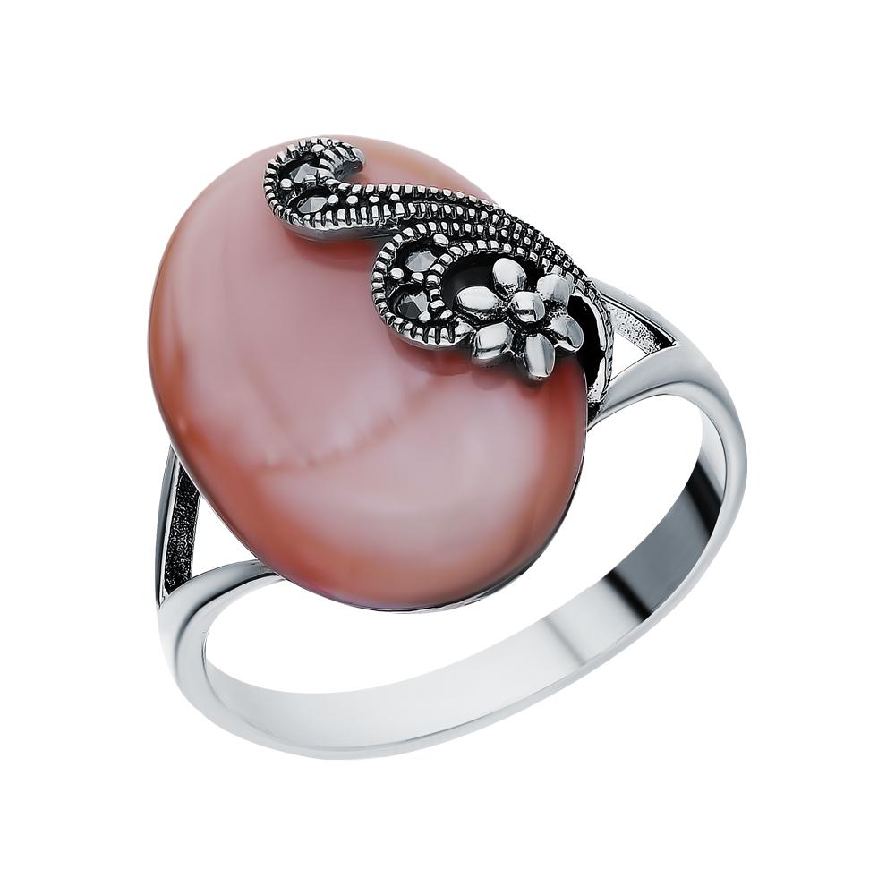 Фото «Серебряное кольцо с перламутром и марказитами swarovski»