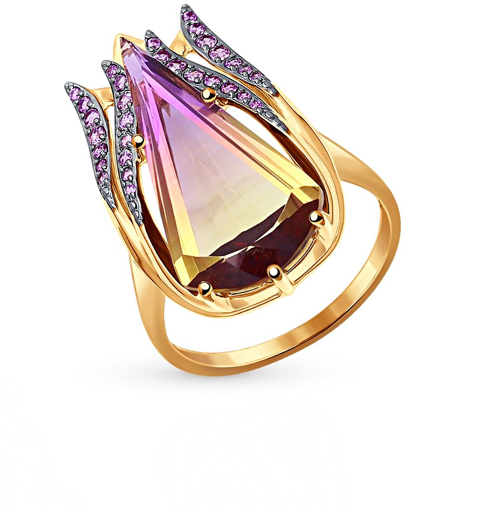 золотое кольцо с аметрином и фианитами SOKOLOV 714365*