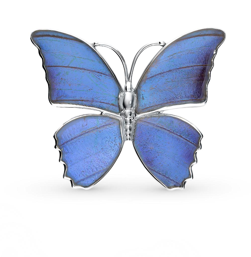 Серебряная брошь с фианитами, эмалью и крыльями бабочки, 5 см в Санкт-Петербурге