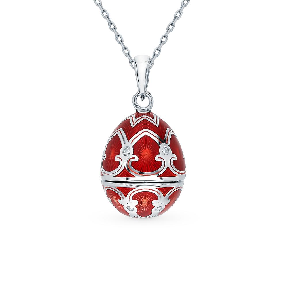 серебряное шейное украшение с фианитами, эмалью и бриллиантами