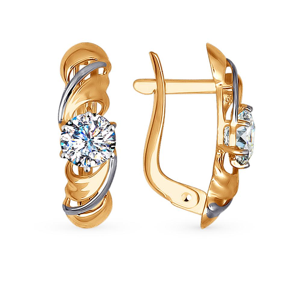 золотые серьги с фианитами SOKOLOV 027331*