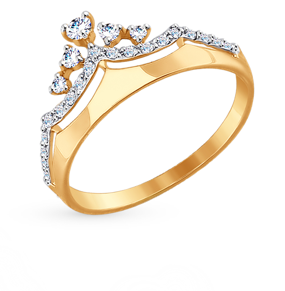 Фото «Золотое кольцо с фианитами SOKOLOV 017413*»