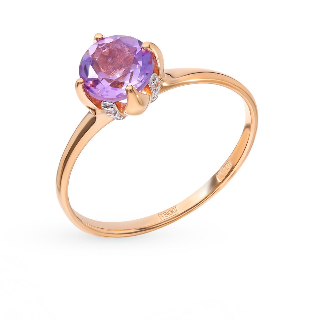 золотое кольцо с аметистом и фианитами SOKOLOV 714932*