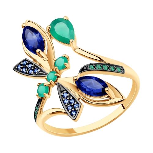Фото «Золотое кольцо с корундом, фианитами и агатом SOKOLOV 715779»