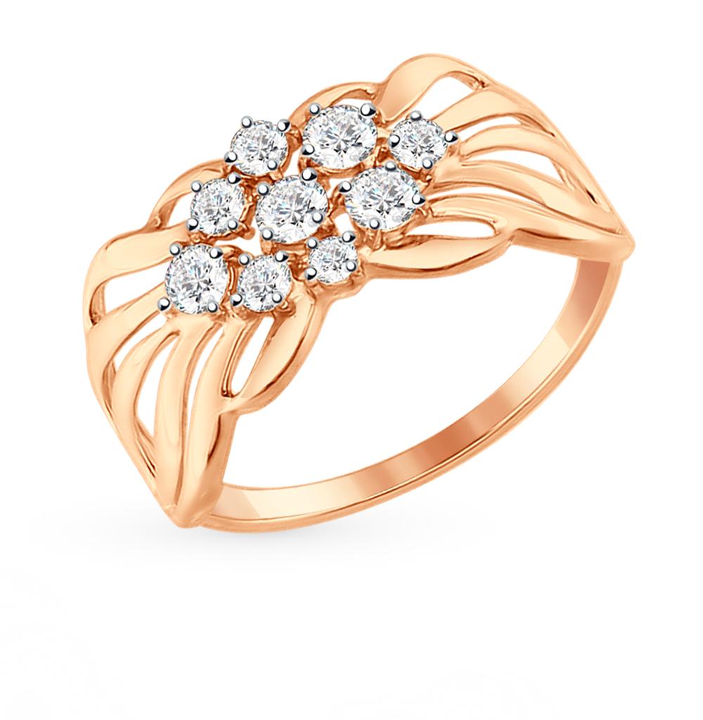 золотое кольцо с фианитами SOKOLOV 017341